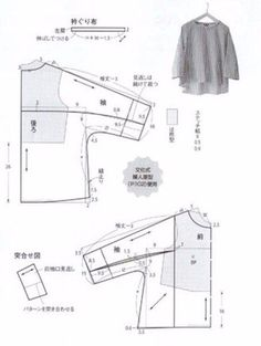 Metric measurements to reproduce free pattern. I'd likely have to adjust it again to western type body measurements. Dress Sewing Patterns, Blouse Patterns, Clothing Patterns, Sewing Blouses, Japanese Sewing, Pattern Cutting, Fashion Sewing, Top Pattern, Free Pattern