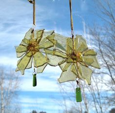 n honor of my 3rd year on Etsy...A SALE of course! Write in 17ANNIVERSARY in the coupon code at check out...You only get the 17% discount if you write it in..just in time for Valentines gifts!! Eco Friendly Amber Stained Glass Star Burst Ornament Suncatcher Repurposed Recycled Wire Wrap