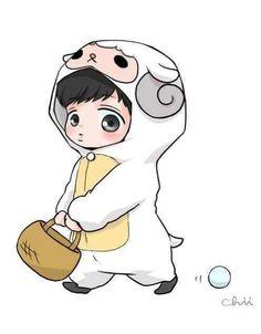 Someone's cute fan art. Exo Cartoon, Cartoon Fan, Chibi Exo, Exo Stickers, Exo Anime, Chanyeol Baekhyun, Exo Fan Art, Cute Sheep, Exo Luxion