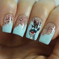 Cute reindeer nail art