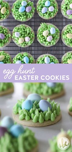 These Egg Hunt Easter Cookies make the perfect #dessert #recipe for #spring or #Easter! #sugarcookie #cookie #