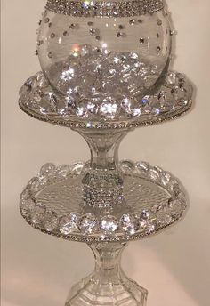 Diamond Accent Wedding Centerpiece - Diamond Centerpiece - Bling Centerpiece - Wedding Reception Centerpiece - Glam C Bling Centerpiece, Wedding Reception Centerpieces, Wedding Vases, Wedding Decorations, Silver Christmas Decorations, Easy Christmas Crafts, Dollar Store Crafts, Deco Table, Glass Art