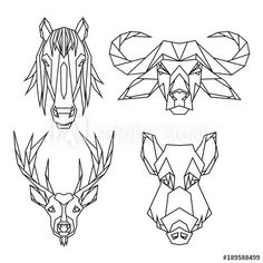 Geometric vector animal set of bull, deer, horse and wild hog vector heads drawn in line or triangle polygonal style, suitable for modern tattoo templates, icons or logo elements. - Buy this stock vector and explore similar vectors at Adobe Stock 1 Tattoo, Back Tattoo, Animal Set, Geometric Art, Geometric Animal, Dinosaur Tattoos, Origami Tattoo, Cat Doodle, Tattoo Templates