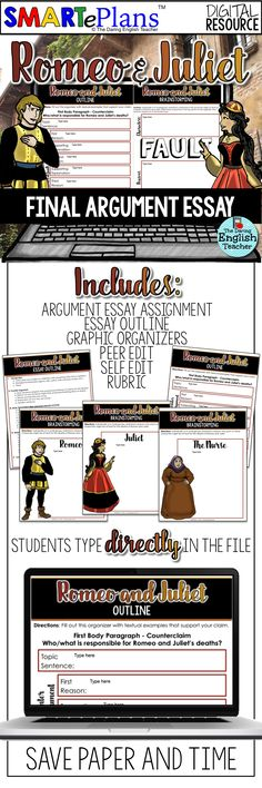 Romeo and Juliet final essay for Google Classroom. This digital files walks students through the writing process as they brainstorm for, write, and edit their argument essay for William Shakespeare's masterpiece. Ideal for middle school and high school English language arts.