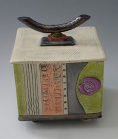 wheel thrown pottery ideas | Square jar with lid