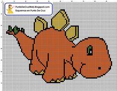 dinosaurio naranja en punto de cruz Dragon Cross Stitch, Cross Stitch Art, Cross Stitch Animals, Cross Stitching, Cross Stitch Embroidery, Cross Stitch Patterns, Crochet Skull Patterns, Crochet Blanket Patterns, Crochet Diagram