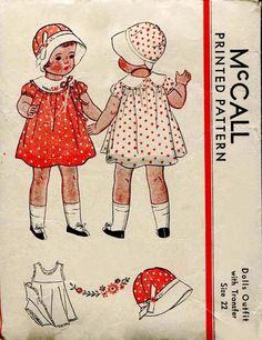McCall 1930s Doll Dress Pattern ORIGINAL and Rare for 22 Inch Doll with Cloche Hat and Petticoat Dated 1933 - NOT a Reproduction or Copy. via Etsy.