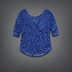 Abercrombie Kids: girls fallon tee blue polka dots