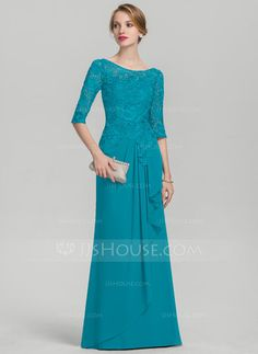 A-Line/Princess Scoop Neck Floor-Length Chiffon Lace Mother of the Bride Dress With Cascading Ruffles - Mother of the Bride Dresses - DressFirst Mother Of The Bride Gown, Mother Of Groom Dresses, Lace Evening Dresses, Lace Dress, Brides Mom Dress, Event Dresses, Special Occasion Dresses, Beautiful Dresses, Marie