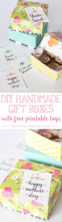 DIY Handmade Gift Boxes with Free Printable Gift Tags. Cute printable gift tags!
