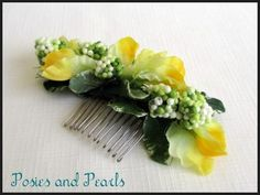 Spring Blossom - Yellow and light green silk flower hair comb fascinator with sweet peas and berries