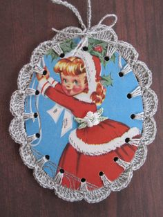 Recycled Christmas Greeting Card Decorating Girl by ShoeFlower