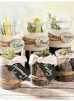 Repurpose the glass containers for gardening. I love that idea!