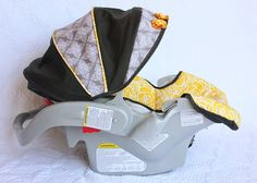 Recovering a Baby Car Seat | Make It and Love It. Excellent intructions (especially for the canopy)