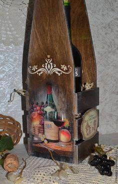 """Купить Короб для вина """"Вино и фрукты"""" - коричневый, винный короб, винный ящик, короб для вина"""