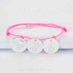Bracelet personnalisé gravé Origami sur happybulle.com ! -------------------------------------------- Origami personalized bracelet engraved on happybulle.com