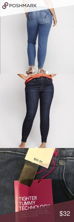 Lane Bryant tighter tummy skinny jeans Curve-loving skinny jean with Tighter Tummy Technology provides stylish slimming! Our specially-designed T3 control panel firms and flattens your tummy, and features a hidden elastic waistband and higher rise for a no-gap fit. Classic five pocket design. Double button & zip fly closure and belt loops. Available in Short & Long sizes, too! ITEM #211923 Stretch Woven Imported Sizes: 18 average  Bundle and save 15% Lane Bryant Jeans Skinny