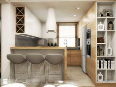 przestrzeń & faktura - Średnia otwarta kuchnia w kształcie litery u w aneksie - zdjęcie od MONOstudio