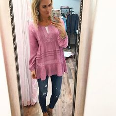 "Shop Girl💗 In case you missed our IG Story, I'm obsessed with our new ""Kaia"" top! The color of this top is insane and those details...Ahh!!! It's a Must-Have, ladies!! And just FYI...Fact: I wear these jeans (""Ryder"") at least once a week. Just sayin'.😉 #piperstreet #piperstreetshop #pink"