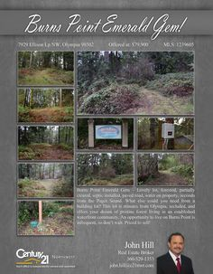 #NEWLISTING  Burns Point Emerald Gem – Lovely lot, forested, partially cleared, septic installed, paved road, water on property, seconds from the Puget Sound. What else could you need from a building lot? This lot is minutes from Olympia, secluded, and offers your dream of pristine forest living in an established waterfront community. An opportunity to live on Burns Point is infrequent, so don't wait  Contact John Hill @ (360) 529-1353 MLS # 1239605 http://7929ellisonlpnw.c21.com/