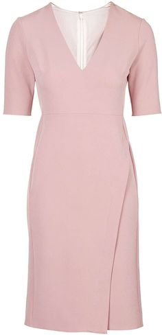 Womens dusty pink wrap midi dress from Topshop - £42 at ClothingByColour.com