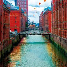 *Faszination Hamburg – Speicherstadt (Design 79) – Digital Collage.*  Hamburg PopArt - kreative und ungewöhnliche Ansichten auf die Hauptstadt des Nor