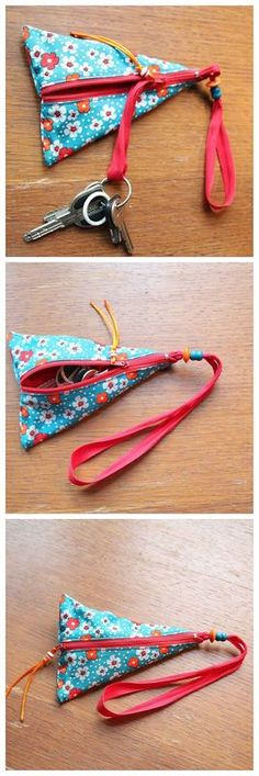Porte-clés Claire Plus Plus Fabric Crafts, Sewing Crafts, Sewing Projects, Costura Diy, Creation Couture, Couture Sewing, Zipper Bags, Small Gifts, Purses And Bags