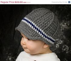 Sale Boys newsboy hat, crochet boys beanie, toddler boy hat, baby boy hat, gray and navy blue - pick your colors and size on Etsy, $19.80