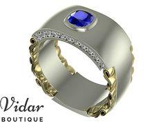 Mens Wedding Band,Unique Men's Ring,Blue Sapphire Wedding Band For Mens,Cushion Cut Men's Ring For Wedding,Vidar Boutique Rings,Diamond Ring