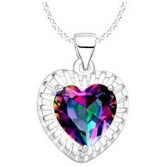 Rainbow Mystic Topaz Heart Silver Plated Pendant Necklace   eBay