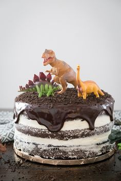 Dinosaur Cake: a simple and fun step by step picture tutorial to make you own dinosaur cake that is perfect for any dino lover! Dinosaur Cakes For Boys, Dinosaur Cookies, Dinosaur Birthday Cakes, Dinosaur Dinosaur, 4th Birthday, Birthday Ideas, Snowflake Wedding Cake, Dino Cake, Basic Cake
