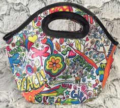 Little Brownie Baker Lunch Bag Purse Tote Tweens Girls Neon Graphic Peace Dance