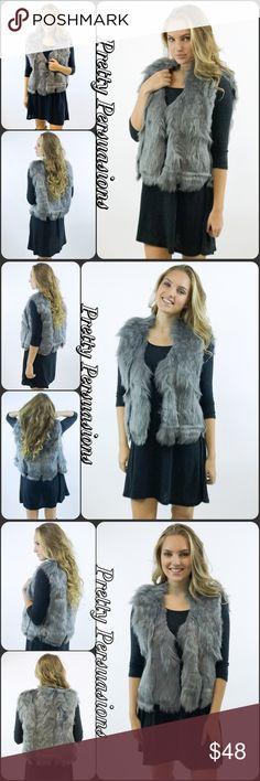 NWT Gray Faux Fur Sleeveless Vest Description coming soon. Now available. Very limited supply. Don't miss out ! Pretty Persuasions Jackets & Coats Vests