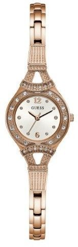 GUESS Women's Rose Gold-Tone Petite Crystal Watch