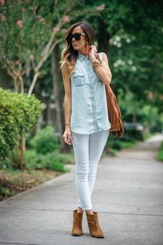 white denim and booties, statement earrings, summer / fall outfit
