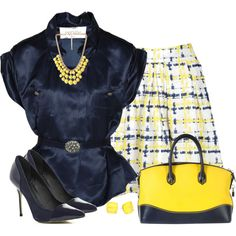 Yellow and Navy, created by daiscat on Polyvore