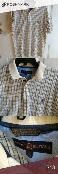 Tommy Hilfiger Golf | Cream Blue Plaid Polo Tommy Hilfiger men's cream and blue plaid polo. Size medium. Gently used with no flaws.  B9-131 Tommy Hilfiger Shirts Polos