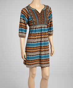Take a look at this Brown & Blue Zigzag Dress on zulily today!