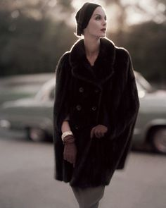 Anne St. Marie wearing mink cape by Maximillan, November 15, 1955
