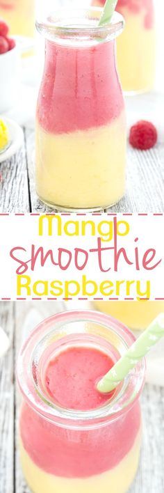 Start your day off right with this two toned Mango Raspberry Sunshine Smoothie.  Easy to make and totally delicious!  Great for snack time too.