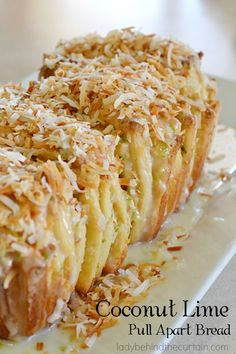 Coconut Lime Pull Apart Bread:  A tender bread, served hot with a wonderful citrus kick. Get your fiesta on with this fun to eat pull apart bread.  With la