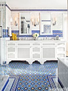 blue yellow wall tiles design designs with amazing morrocan tile messagenote moroccan bathroom design wall decor moroccan decor ideas blue stairs plaid floor typical tile Bathroom Tile Designs, Bathroom Colors, Colorful Bathroom, Bathroom Ideas, Tiled Bathrooms, Washroom Tiles, Bathroom Inspiration, Coolest Bathrooms, Modern Bathroom