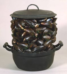 Marcel Broodthaers  Casserole and Closed Mussels 1964   Broodthaers made this work using an everyday casserole pot owned by his family, and mussel shells provided by a favourite restaurant. Broodthaers explained: 'The bursting out of the mussels from the casserole does not follow the laws of boiling, it follows the laws of artifice and results in the construction  of an abstract form.' Mussels are a popular dish in Belgium, and Broodthaers intended this work in part to satirise his homeland.