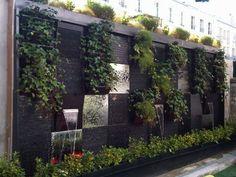 How to make a vertical garden wall hanging pot - Homemidi Small Gardens, Outdoor Gardens, Indoor Gardening, Indoor Waterfall, Wall Waterfall, Vertical Garden Design, Water Walls, Terrace Garden, Balcony Deck