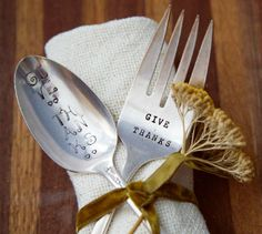 Hand Stamped Vintage Serving Spoon Set for your Thanksgiving Table.