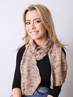 Scarf Women Beige 100% Silk Hand Knitted  by Reginastimelessknits