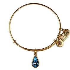 Alex and Ani Bangle Bar Living Water Charm Russian-Gold Expandable Bracelet