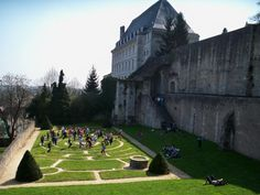 Students in Chartres labyrinth garden