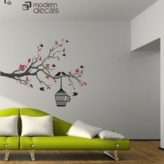 Birds Branch Cage  Nature  Trees  Vinyl Wall Art  by ModernDecals