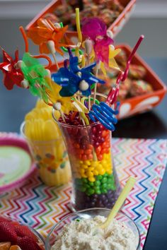 #Rainbow skittles and crazy straws!  #birthdayparty #candydecorations